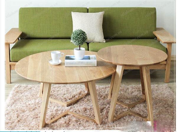 Bàn trà tròn đôi gỗ óc chó 2552 tại nội thất Vilahome