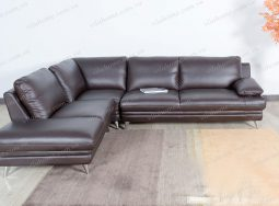 Sofa Góc Gỗ Giá Rẻ Bọc Da Ý Nhập – 2136