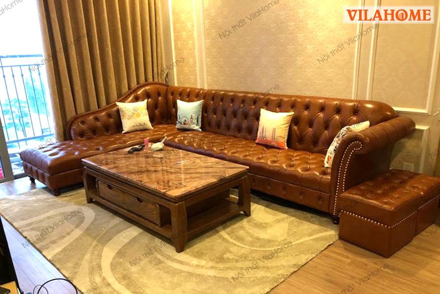 Sofa góc chữ L bọc da tân cổ điển kích thước lớn phù hợp phòng khách rộng hoặc phòng karaoke sang trọng.