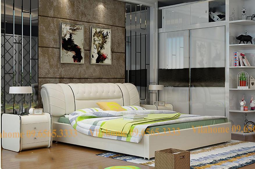 Giường ngủ hiện đại bọc da đầu giường đa năng