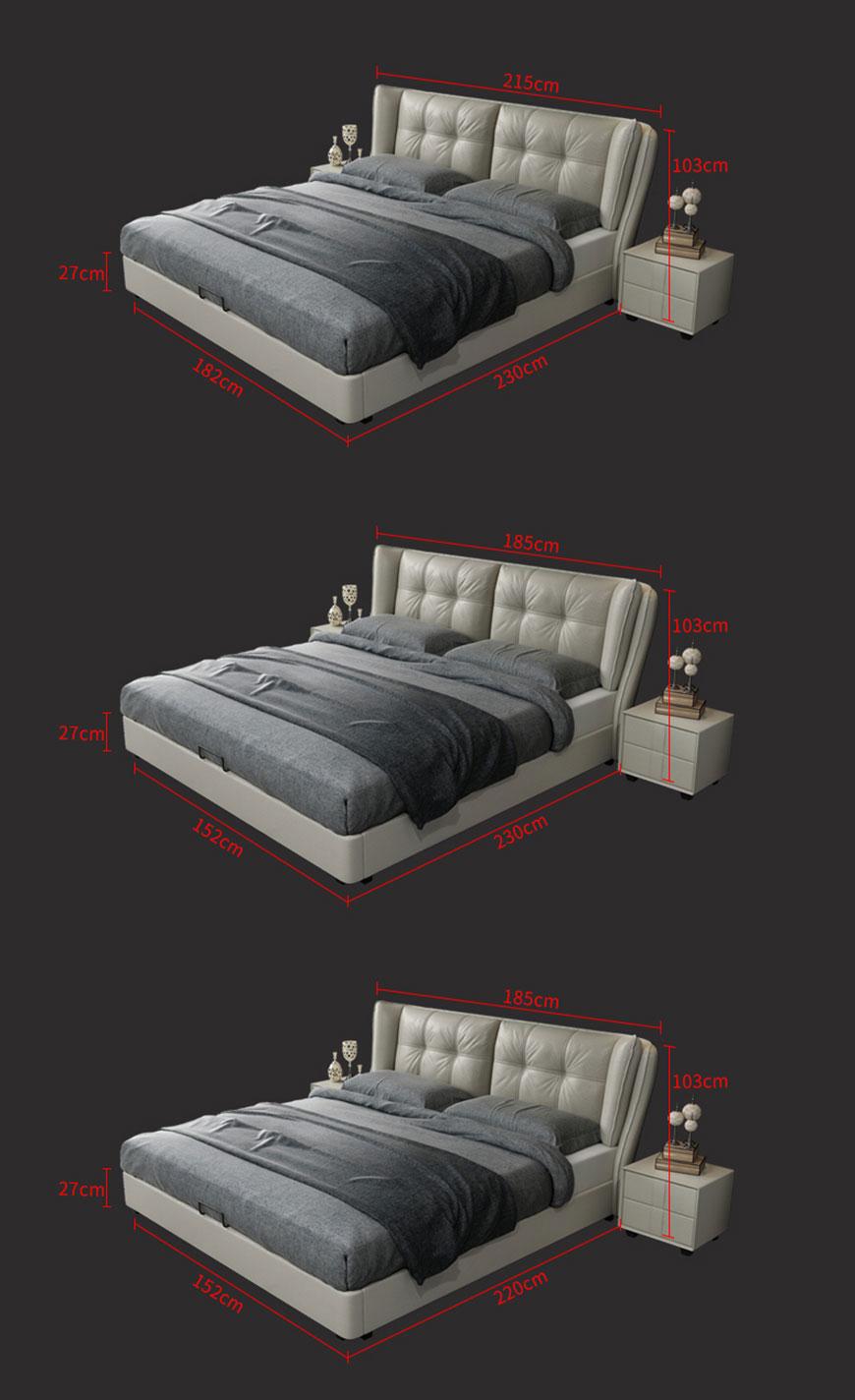 Kích thước giường ngủ hiện đại 7001