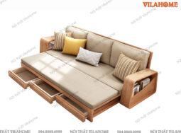 Mẫu Sofa Giường Gỗ Tích Hợp Ngăn Kéo Để Đồ – G905