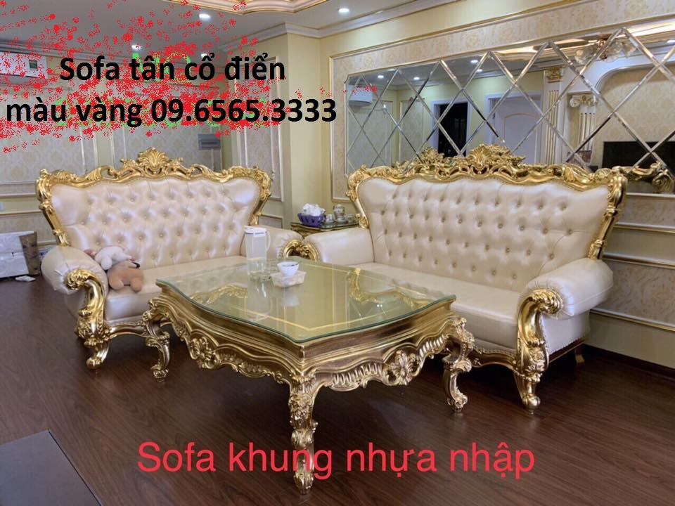 Sofa tân cổ điển mạ màu vàng, màu đồng