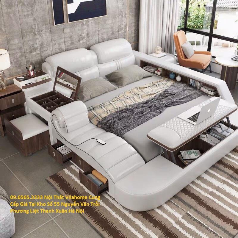 Nơi bán Giường ngủ hiện đại có ghế massage đa năng bọc da tại Hà Nội giá rẻ nhất trên thị trường hiện nay