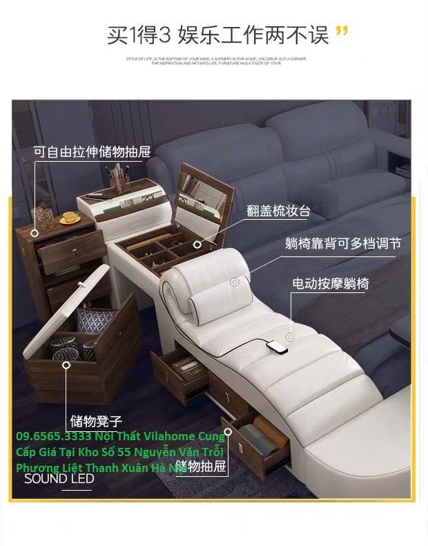 Bọ phận phụ của giường ngủ, massage, bàn trang điểm, ngăn kéo, loa nhạc