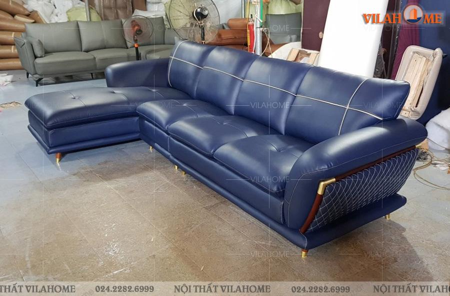 Mẫu sofa góc phòng khách màu xanh