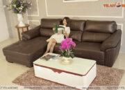 Mẫu sofa góc da màu nâu