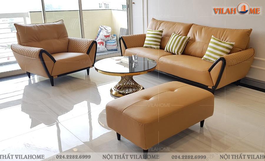 Ghế sofa văn phòng sofa 1 văng 2 ghế đơn màu cam