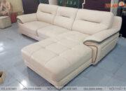 Mẫu sofa góc da màu trắng đẹp nhất năm hiện nay