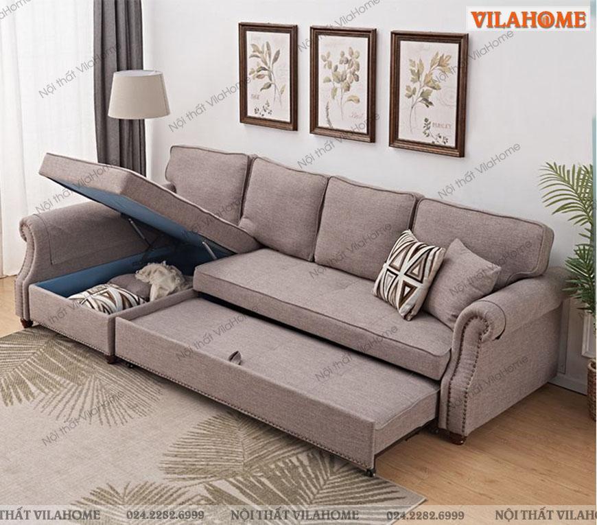Sofa giường bọc vải nỉ hiện đại, màu sắc nhã nhặn.