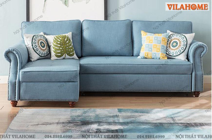 Sofa góc chữ L kéo ra thành giường tiện dụng.