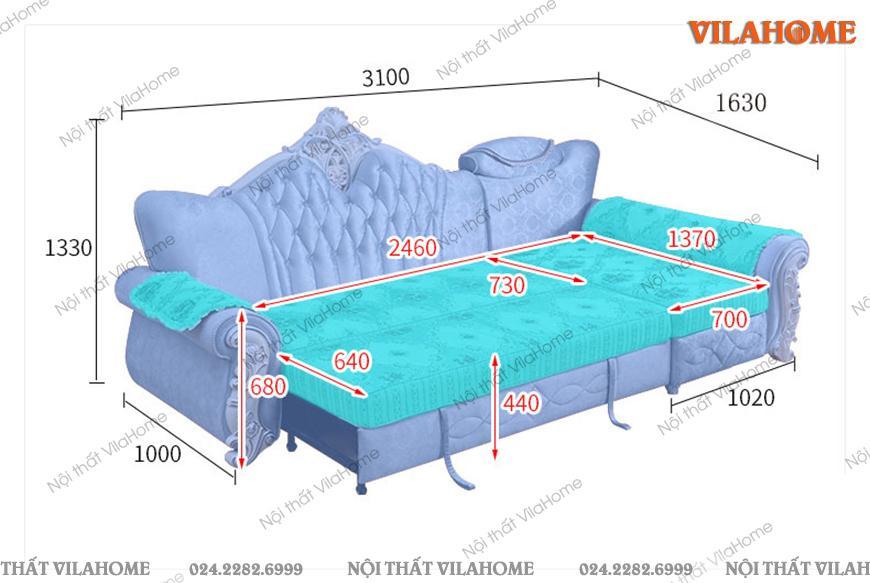 Bản vẽ mô phỏng kích thước ghếsofa giường tân cổ điển.
