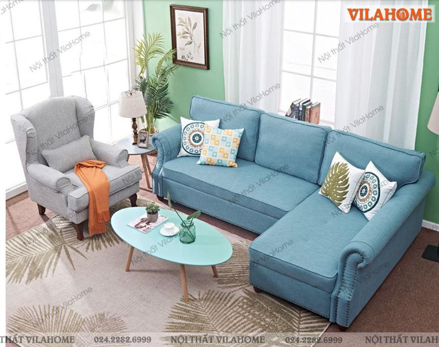Kết hợp sofa góc giường với ghế đơn và bàn trà hiện đại