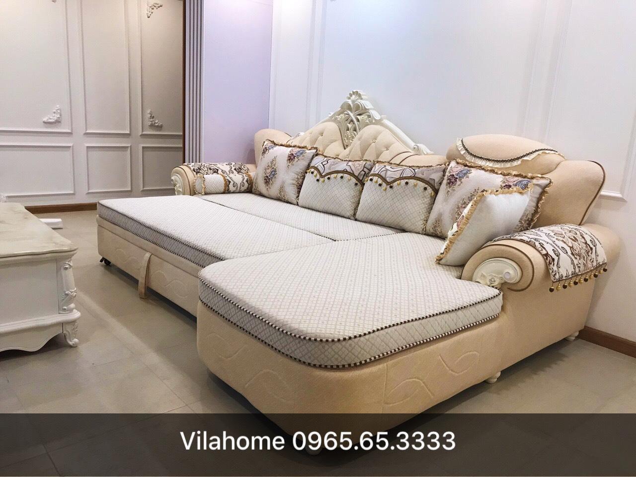Sofa góc giường tân cổ điển.