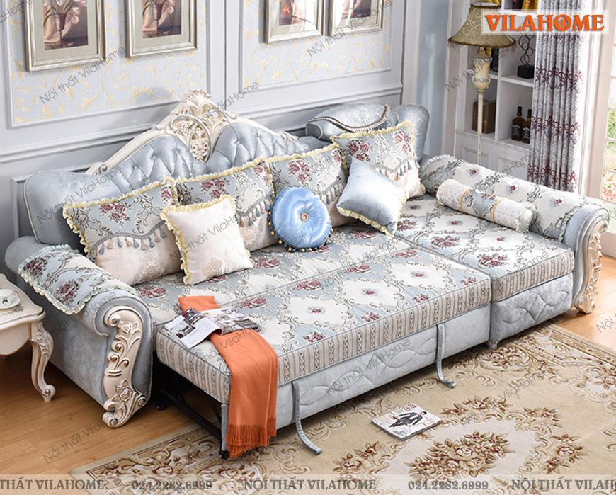 Mẫu sofa giường tân cổ điển hoa văn cầu kỳ, bắt mắt