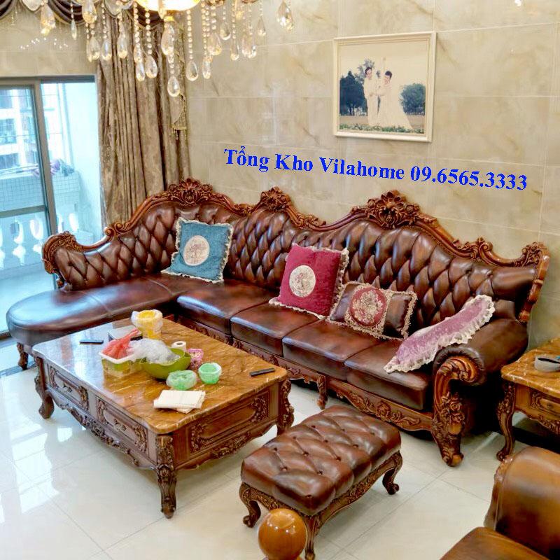 Bộ bàn ghế sofa tân cổ điển màu nâu gụ sang trọng, quyền quý