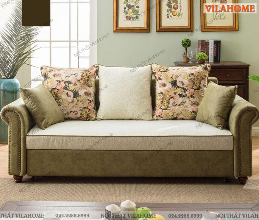 Mẫu sofa kéo ra thành giường ngủ đa năng kiểu dáng tân cổ điển.