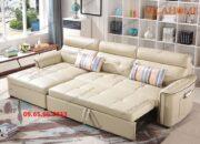 Ghế giường thông minh dạng góc bọc da nhập khẩu màu trắng