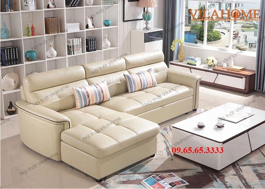 Sofa bed góc chữ L bọc da màu trắng màu kem sữa hiện đại