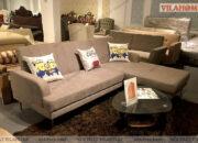 Sofa giường 5035 dát sắt bọc vải nhung màu be trầm