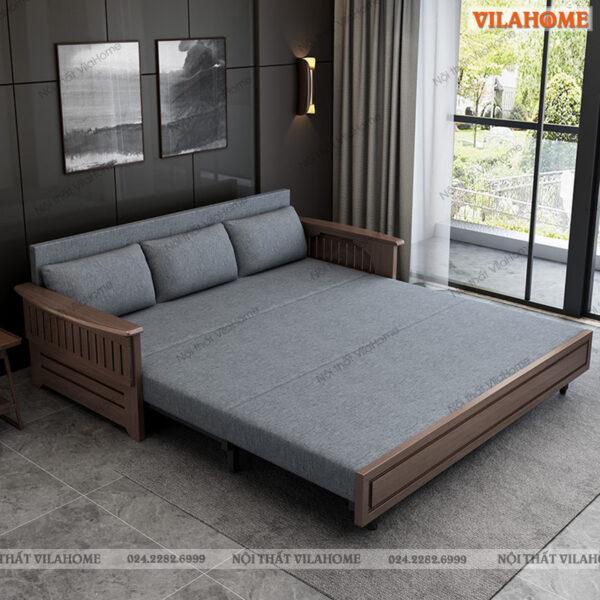 Giường gấp thành ghế gỗ tự nhiên, bọc vải màu xám