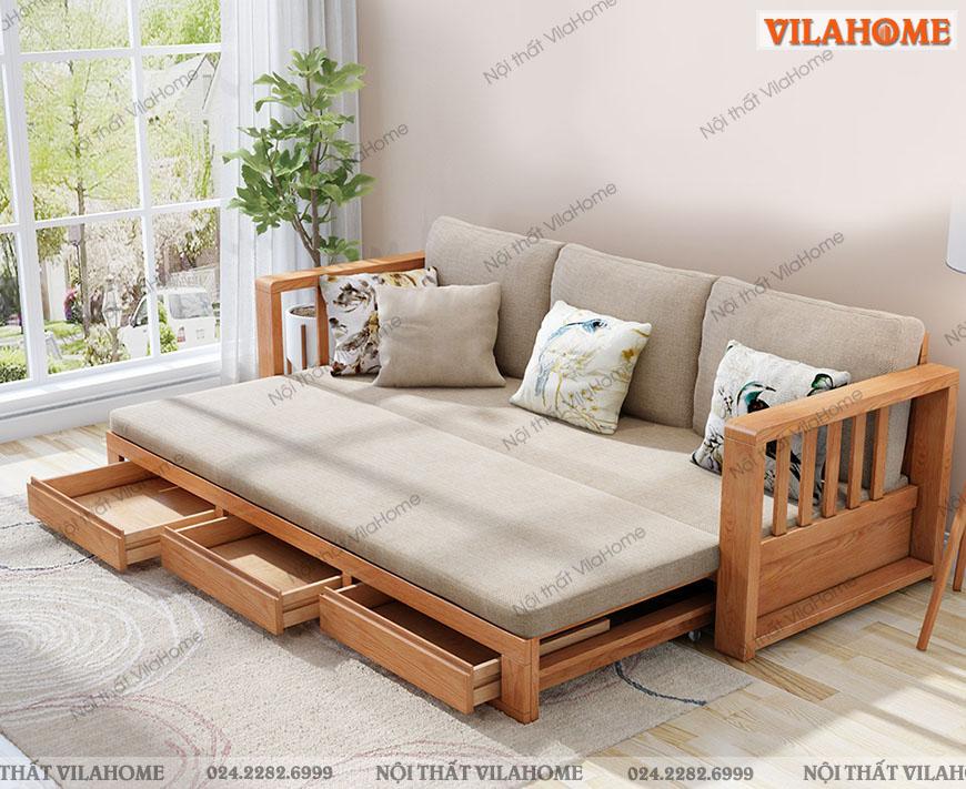 ghế sa lông giường gỗ tự nhiên màu sáng