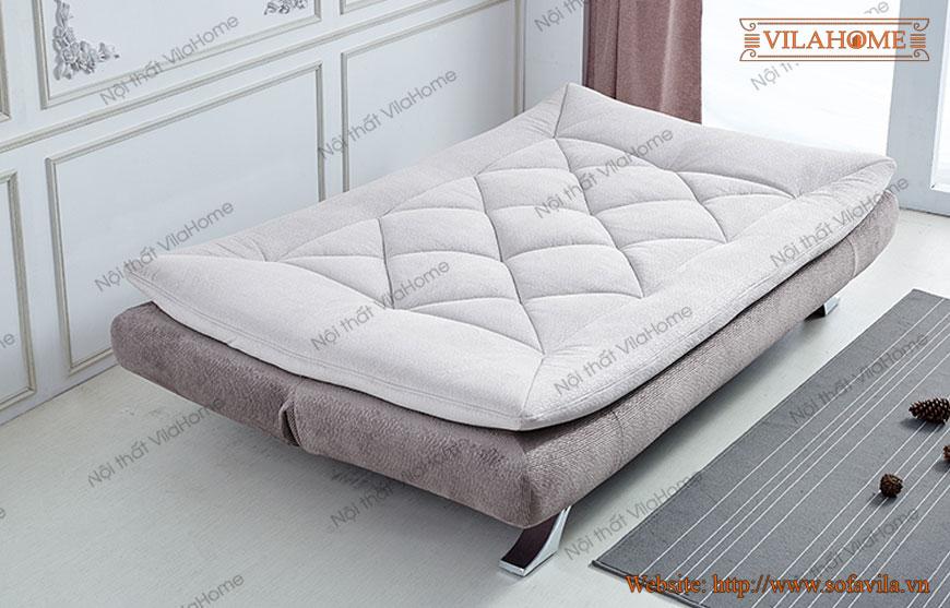 Sa lông giường đi văng chữ I nhỏ gọn khung gỗ chân inox