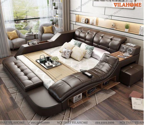 Giường ngủ massage thông minh GM25 phiên bản màu nâu gỗ